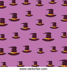 halloween witch hats pattern background