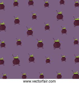 halloween witch cauldrons pattern lilac background