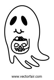 halloween ghost with pumpkin and candies