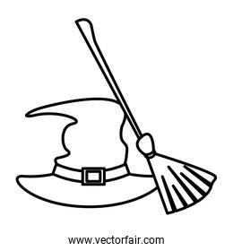 halloween witch hat and broom accessories