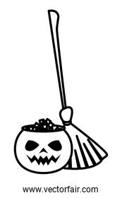 halloween pumpkin with sweet candies and witch broom linear icons