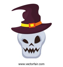 head skull with halloween witch hat accessory