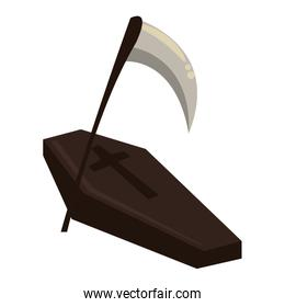 halloween wooden coffin with scythe