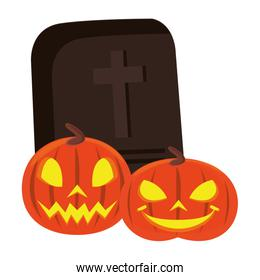 halloween pumpkins with graveyard and candies