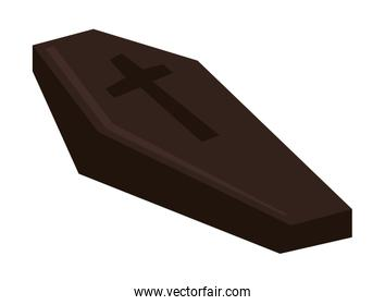 halloween wooden coffin isolated icon