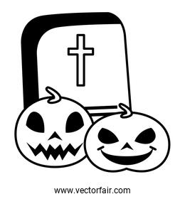 halloween pumpkins with graveyard and candies over white