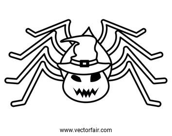 halloween spider insect with witch hat
