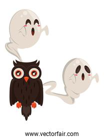 halloween owl bird with ghosts floating