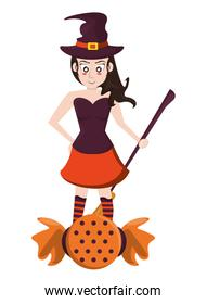 halloween witch woman with broom and sweet candy
