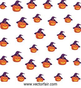 halloween pumpkins with faces and witch hats pattern