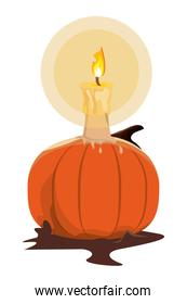 halloween pumpkin with candle icon