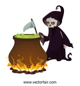 halloween witch cauldron pot with death