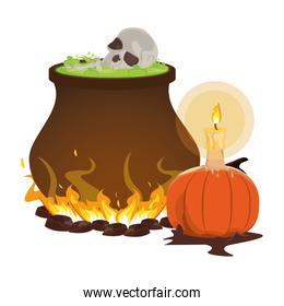 halloween pumpkin with candle and cauldron