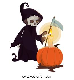 halloween pumpkin with candle and death costume