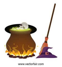 halloween witch cauldron with skull head and broom