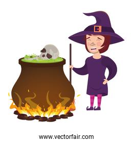 halloween witch cauldron with skull head and witch costume
