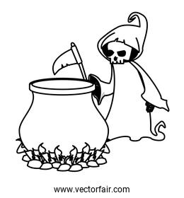halloween witch cauldron pot with death costume