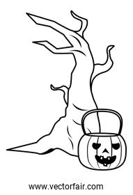 halloween pumpkin with tree plant over white
