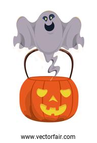halloween pumpkin with ghost floating