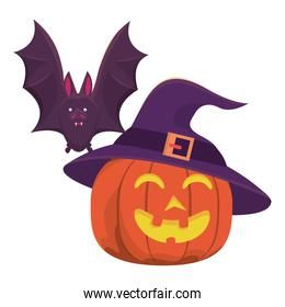 halloween pumpkin with witch hat and bat flying