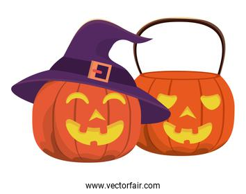 halloween pumpkins with faces and witch hats