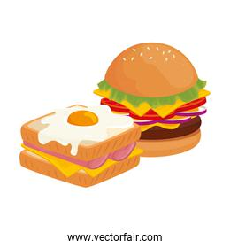 delicious burger with sandwich fast food icon