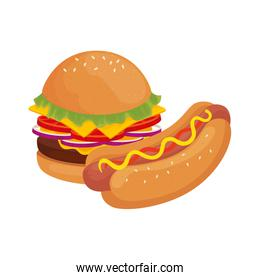 delicious burger with hot dog fast food icon