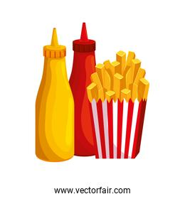 delicious french fries with bottles sauces fast food icon