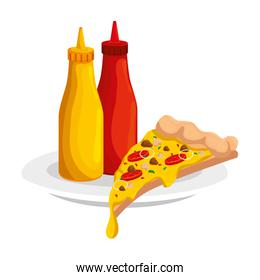 delicious italian pizza with bottles sauces fast food icon