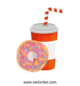 delicious soda with donut fast food icon
