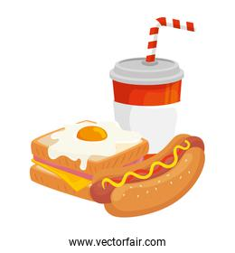 delicious sandwich with hot dog and drink isolated icon