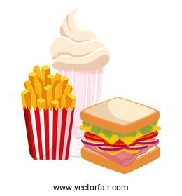 delicious sandwich with milkshake and french fries food isolated icon