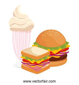delicious burger with sandwich and milkshake fast food icon