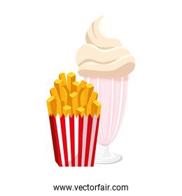 delicious french fries with milkshake fast food icon