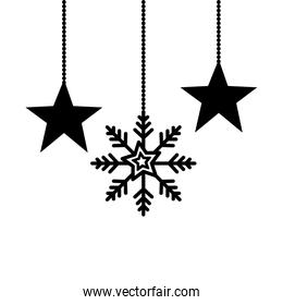 snowflake wit stars christmas hanging isolated icon