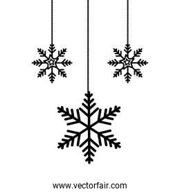 snowflakes christmas hanging isolated icon
