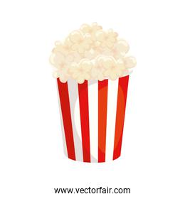 delicious popcorn in container isolated icon