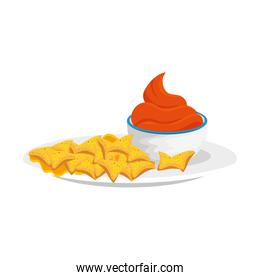 delicious nachos with sauce isolated icon
