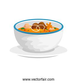 bowl of delicious soup isolated icon