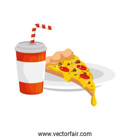 delicious italian pizza with drink fast food icon