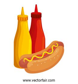 delicious hot dog with bottles sauces fast food icon
