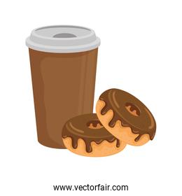 delicious coffee in plastic container with donuts