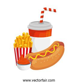 delicious hot dog with drink and fast food icon