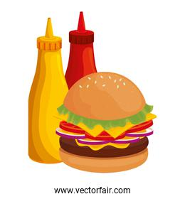 delicious burger with bottles sauces fast food icon