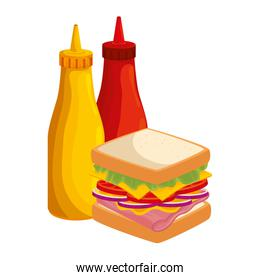 delicious sandwich with bottles sauces food isolated icon