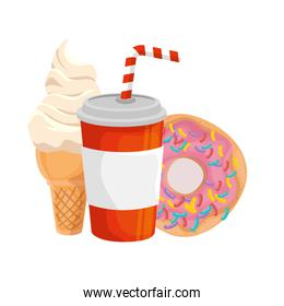 delicious soda drink with ice cream and donut fast food icon