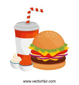 delicious burger with drink fast food icon