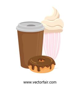 delicious coffee in plastic container with donut and milkshake