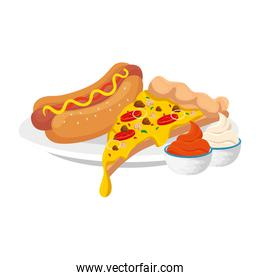 delicious italian pizza with hot dog and sauces fast food icon
