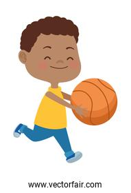 afro little boy playing basketball character